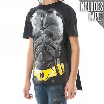 Official DC Comics BATMAN DARK KNIGHT T-SHIRT with Cape Mens Funny Costume Suit
