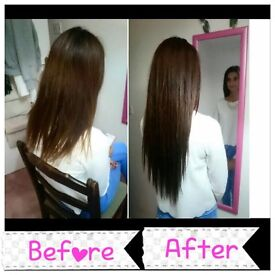 Micro ring hair extentions and hair cuts