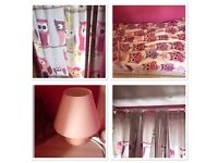 Girls Owl curtains (with pole/rail) and duvet set with pink lamp