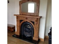 Solid Mexican pine Fireplace with matching mirror and table