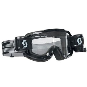 Scott USA Hustle WFS Black Goggle W/Roll Off System Anti-Stick Lens Motocross MX