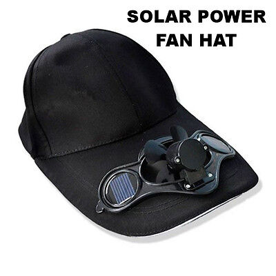 BLACK Fan Hat SOLAR Powered Sun Operated Power Cool Kid Baseball Cap BRAND NEW!!