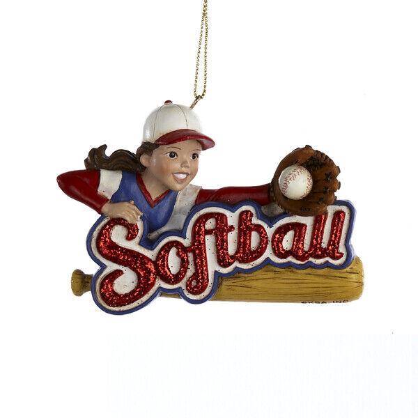 Girl Softball Sports Player Christmas Tree Ornament Decoration C8236 Soft Ball