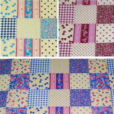 Patchwork Squares Polka Dots Bows Roses Floral Polycotton Fabric  Polka Rose Square