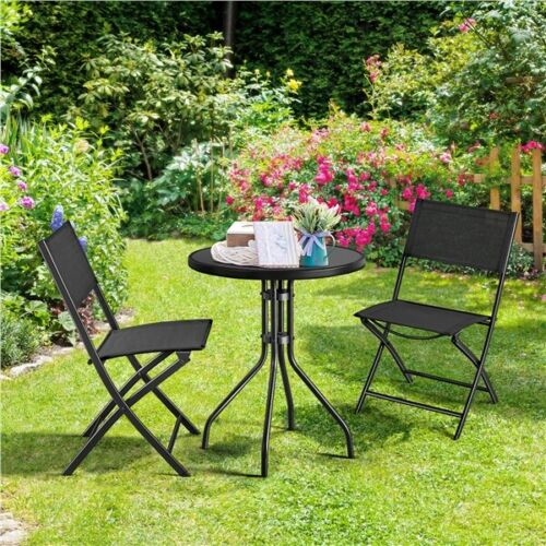Garden Furniture - 3 Pcs Patio Bistro Set Garden Backyard Table Furniture Set Table&Chairs Black