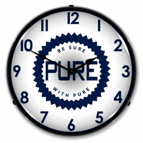 NEW PURE OIL GAS  RETRO ADVERTISING BACKLIT LIGHTED CLOCK - FREE SHIPPING*