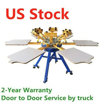 Manual 6 Color 6 Station Screen Printing Machine T-shirt Press Equipment - Usa