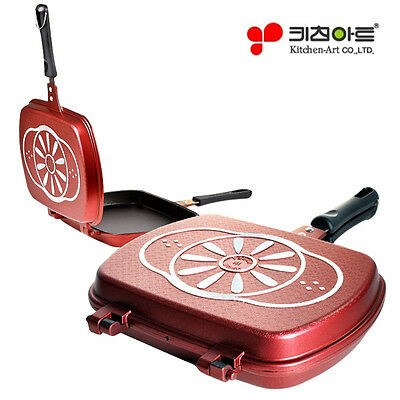 Kitchen Art Double-Sided Pan Grill Wine made in Korea Non-Stick (ksch) 11.4inch