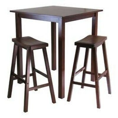 (Winsome Parkland 3pc Square High/Pub Table Set with 2 Saddle Seat Stools 94349)