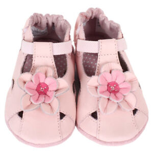 NEW - Robeez Pretty Pansy Shoes, Pink, Soft Soles (0-6 Mths)