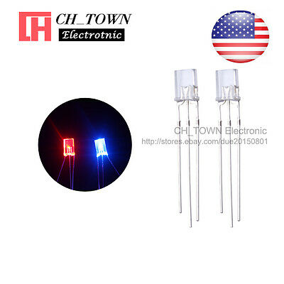 100 2x5x7mm Common Cathode Water Clear Bi-color Red Blue Rectangular Led Diodes