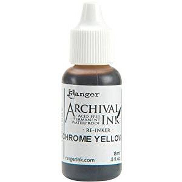 RANGER Archival Reinker .5oz Refill Ink for Stamp Pads Select from 55 colors Chrome Yellow
