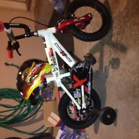 Lightening McQueen kids bike and helmet