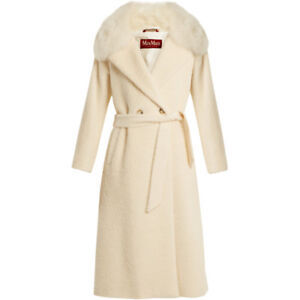 New Authentic Max Mara Studio Dea White Coat, US sz 4