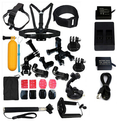GoPro Accessories Kit + 2 BATTERIES & CHARGER, Hero 7 6 5 Black Action Camera