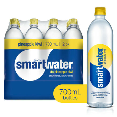 (12 Bottles) Smartwater Flavored Water, Pineapple Kiwi, 23.7 Fl Oz