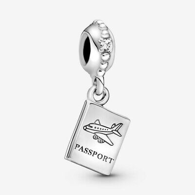 PANDORA PASSPORT TRAVEL SILVER CHARM DANGLE TRAVEL #791147CZ AUTHENTIC W/POUCH