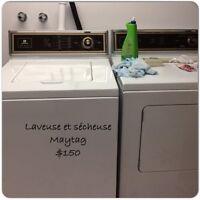 Laveuse et sécheuse Maytag $150