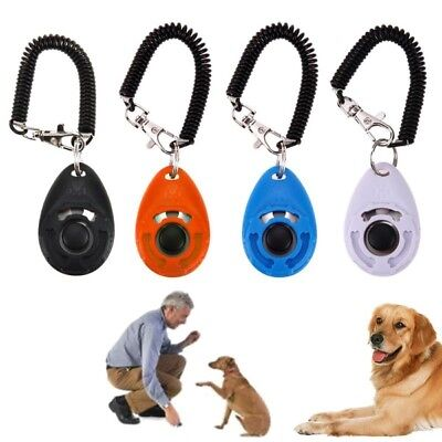 Pet Cat Dog Puppy Click Clicker Training Obedience Trainer Aid With Wrist Strap