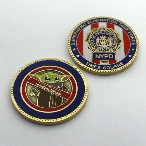 challenge coin   Nypd New York City Police Times Square Baby Yoda BRONZE