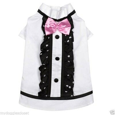 Dog Shirt wedding Best Man White w Black Trim Pink Bow Tux Look Costume (Bow Costume)