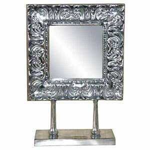MIRROR-MOUNTED-ON-STAND-SILVER-ALUMINIUM-METAL-ORNATE-FRAME-DRESSING-TABLE-NEW