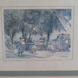 5 X Jill Walker prints of Barbados in green frames