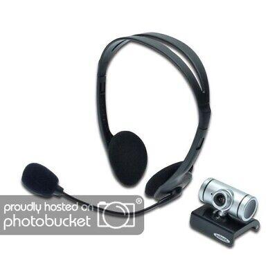 Ednet Webcam inkl. Headset für PC Notebook VoIP Skype Chat Kamera Conference Kit