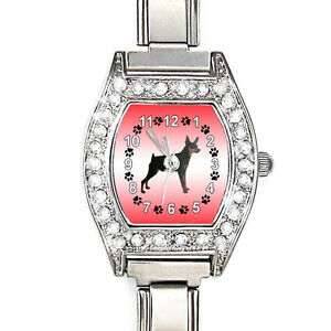 Miniature-Pinscher-CZ-Lady-Stainless-Steel-Italian-Charms-Bracelet