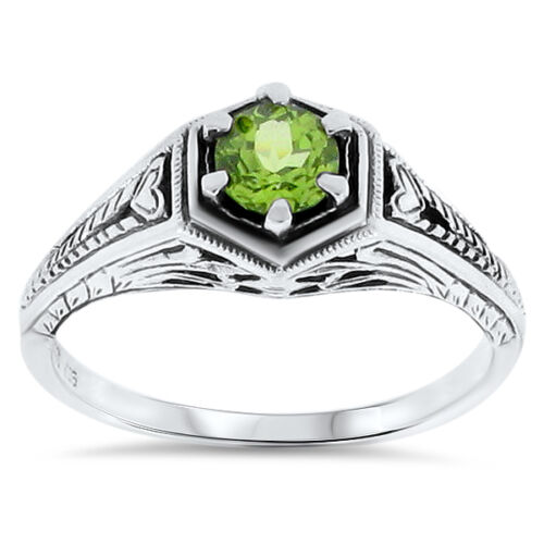 GENUINE PERIDOT .925 STERLING SILVER ANTIQUE DECO DESIGN RING,       #91