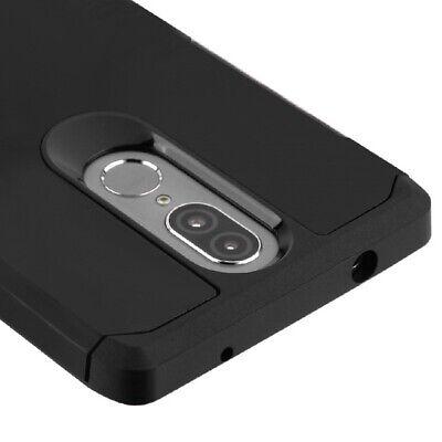 Coolpad Legacy - Hard Hybrid Armor Impact Phone Skin Case Black Non-Slip Cover Black Impact Skin Case