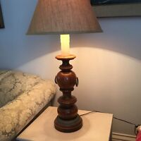 2 wooden lamps