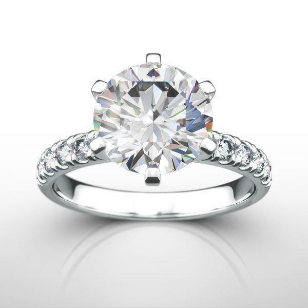 6 Prong Diamond Ring Round 2.5 Carat Vs1 Estate 14k White Gold Anniversary