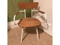 Children's chair in wood/white metal