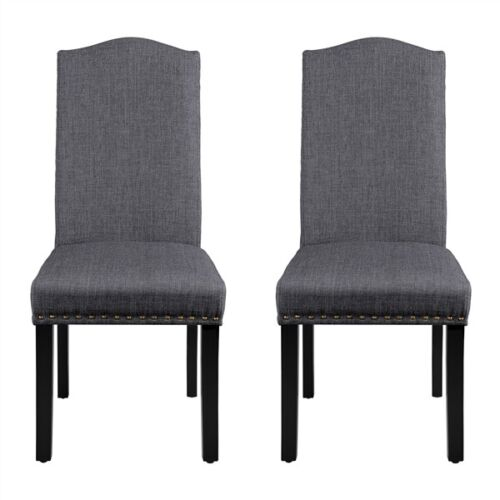 Classic Dining Chairs Set of 2 Fabric Upholstered Kitchen Chairs Dark Gray
