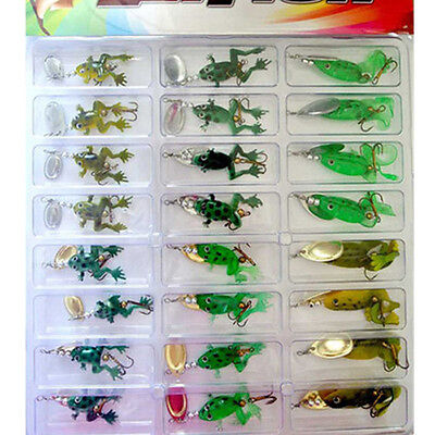 Topwater Soft Sequins Frog Fishing Lure Bass Bait Crankbait Tackle Hook 24Pcs