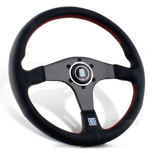 """NARDI Torino 14"""" Black Leather Carbon Fiber Dished Steering Wheel with Horn"""
