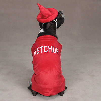 Ketchup Bottle Sizes (Ketchup Bottle Dog Puppy Pet Costume Party Halloween Red Size:)