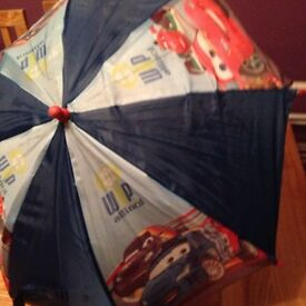 Disney cars sleeping bag and umbrella