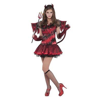 Halloween-kostüm Teufel Mädchen (Teufelin Teufel Kostüm Gr. 158 Teeny  Kinder Karneval Mädchen Halloween neu)