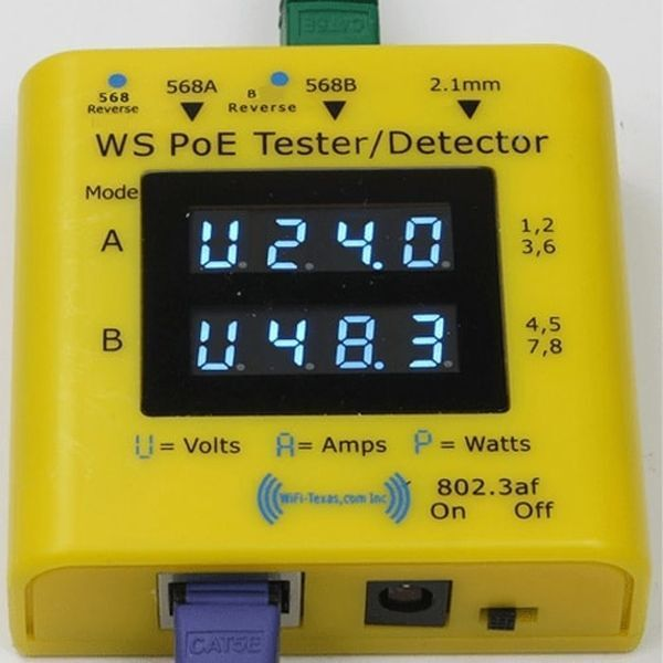 WS POE Tester+ WS-POE-Tester_001 Dual Microprocessor Volt Ammeter PoE Systems
