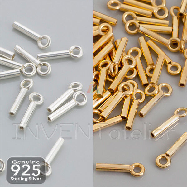 10 pcs Sterling Silver Tube End Cap W// Ring 1.5mm 2mm 3mm or 4mm ID