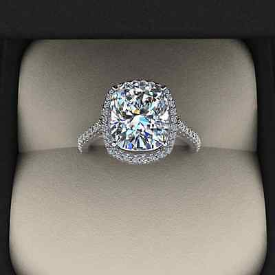 3.00 Ct. Natural Cushion Cut Halo Pave Eternity Diamond Engagement Ring - GIA 2