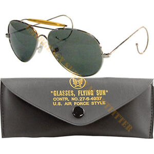 MILSPEC Air Force Aviator Pilot Sunglasses Sun Glasses Chrome with Green Lens
