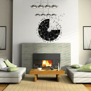 sticker mural horloge g ante envolee de pissenlits avec m canisme aiguilles ebay. Black Bedroom Furniture Sets. Home Design Ideas