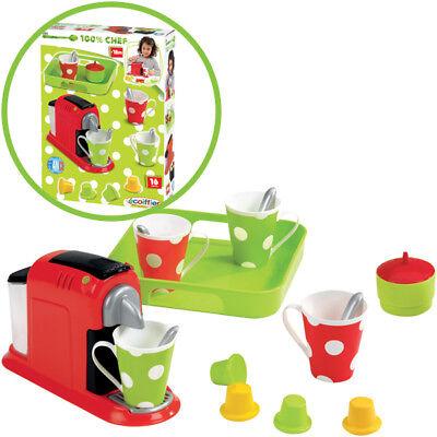 Ecoiffier Espresso-Maschine mit Zubehör Kaffeemaschine Kinderküche Kinder NEU