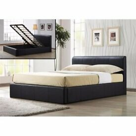 top quality ottoman leather storage bed frame with white orthopedic mattress & plain headboard