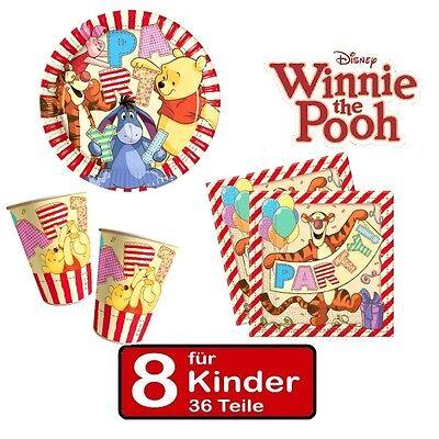 Party Set Winnie the Pooh II Teller Becher Servietten 8 Kinder Geburtstag 36 tlg (Winnie The Pooh Geburtstag Party)