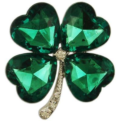 CRYSTAL GREEN FOUR LEAF CLOVER BROOCH PENDANT PIN MADE WITH SWAROVSKI -