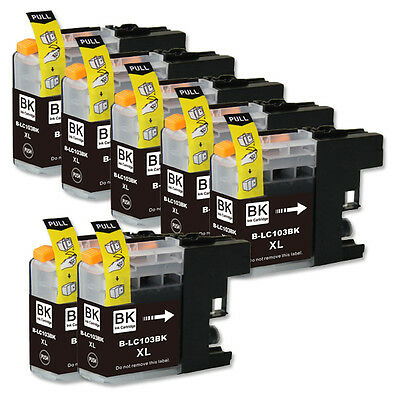 7 BLACK Ink Cartridge + smart chip for Brother LC103XL MFC